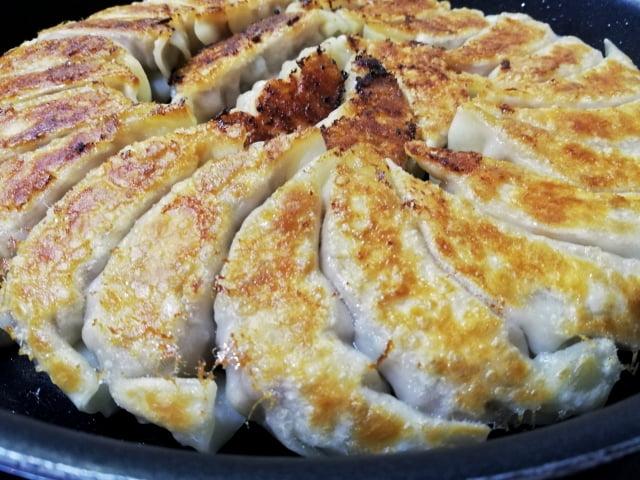 円形の焼き餃子のアップ